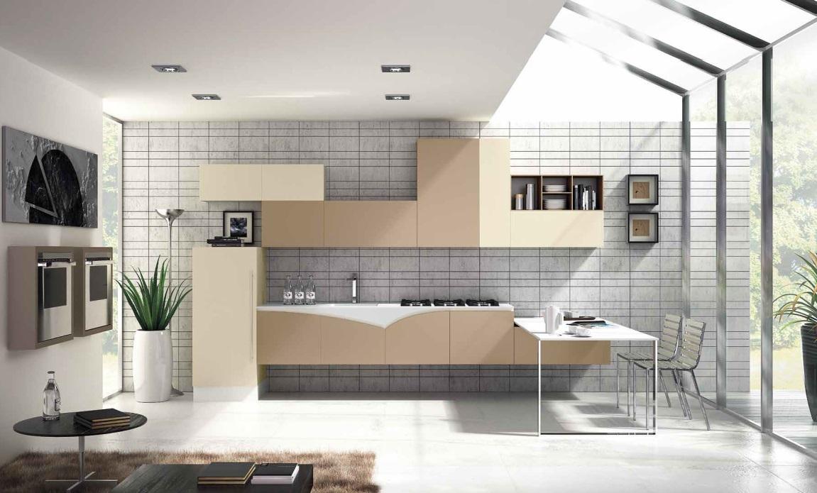 cucina rossa arredamento cucina : cucina moderna fly sospesa anta laccata beige grigiastro e bianco ...
