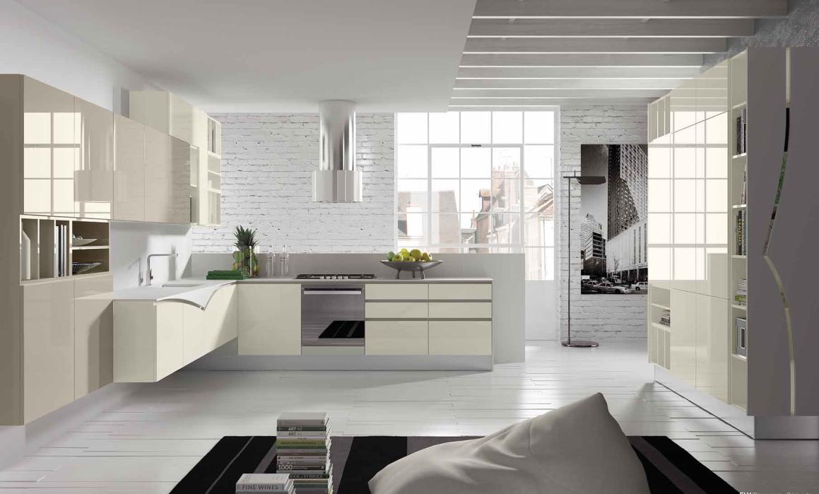 cucina moderna fly sospesa anta laccata bianco puro e grigio seta