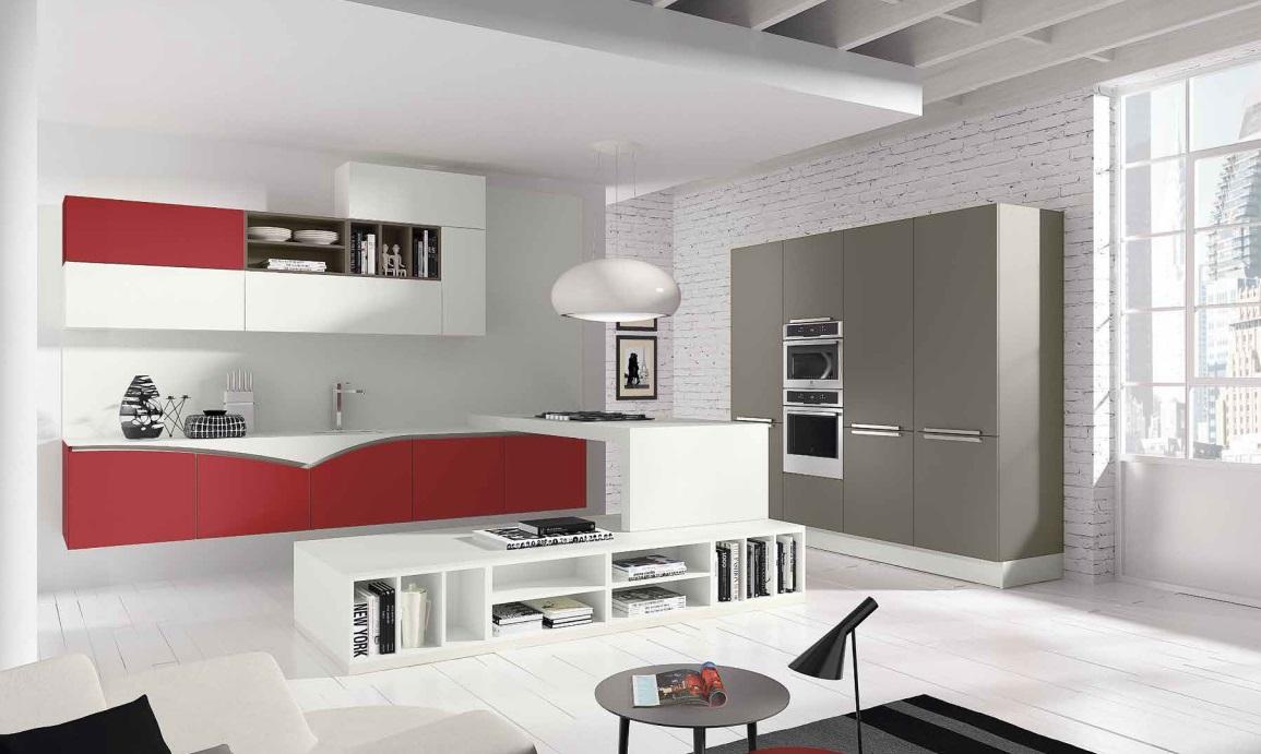 cucina moderna fly sospesa anta laccata bianco puro rosso rubino ...